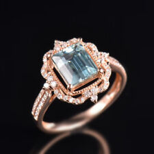 Natural Diamond Blue Aquamarine Engagement Gems Ring Solid 14K Rose Gold Jewelry