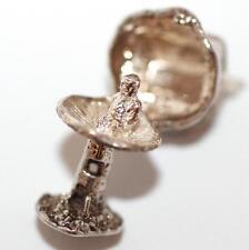 Vintage Sterling Silver Bracelet Charm Opening Mushroom Cottage & Pixie (3.4g)