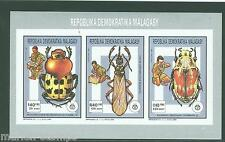 MALAGASY  1991  BOY SCOUT& INSECTS IMPERFORATED COLLECTIVE SHEET  MINT NH