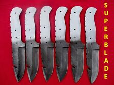 Custom hand made damascus steel  blank blades lot of 6 for knife making wm0070
