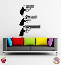 Wall Stickers Vinyl Guns Revolvers Power Man Decor For Living Room (z1652)