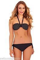 SEXY BLACK HALTERNECK STRAPLESS BIKINI SIZE 8 10 12 14 NEW PINK WHITE POLKA DOT