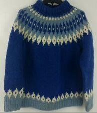 New listing Fair Isle Yoke Sweater Women L Blue Wool Icelandic Nordic Hand Knit Chunky Boho
