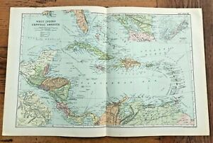 1890 large double page map - g.w. bacon . west indies & central america