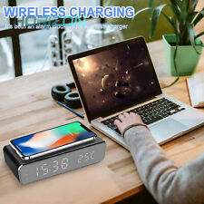 Digital Led Desk Alarm Clock With Thermometer Time Wireless Charger For Phone