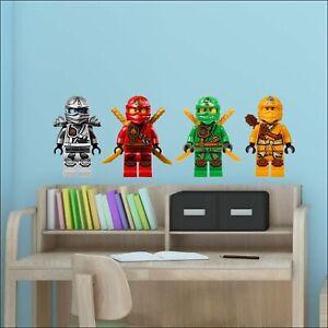 4 Ninjago Lego Movie Characters Full Colour Wall Stickers Matt or Gloss  3 sizes