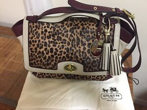 Coach Legacy Color-Block Ocelot Leopard Haifcalf Flap Satchel Shoulder Bag