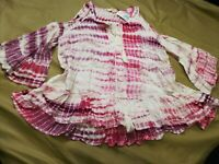 NWT Entro Women's Large Tie Dye Cold Shoulder Bell Sleeves Tassel Lace Neck Top