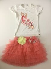 Microbe Miss Grant Girls Outfit, Size Age 4, Skirt & Top, White Pink Vgc