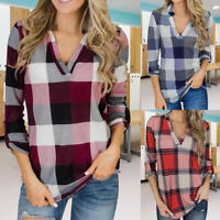 Womens Plaid Long Sleeve T Shirt V-Neck Check Blouse Tops Loose Casual Tee New
