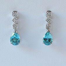 Blue Zircon and Diamond Dangle Earrings in 14K White Gold, 2.35 ct.
