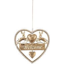 Clayre&Eef Hängeschild Welcome*Herz*Hirsch*Weihnachten*Brocante*Antik Gold