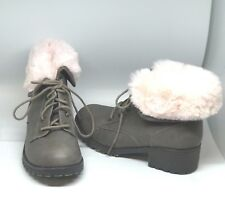 Girl's Winter Warm Pink Faux Fur Trim Block Heel Lace up Ankle Boots Tan Size 3