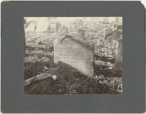 1688 Gravestone Charlestown Massachusetts Mounted 1902 Cemetery Grave Photograph