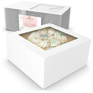25 Pack Auto Pop-Up Cake Boxes with Viewing Window & 50 Stickers - This White