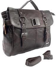 Lorenz Cowhide Real Leather Office University Satchel Messenger Bag Case Brown
