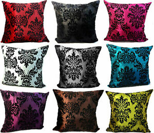 "CUSHIONS CUSHIONS COVERS FLOCK DAMASK CUSHION COVERS OR FILLED CUSHION  18""X 18"""