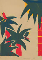 Florence C. - 20th Century Silkscreen, Palm Trees and Birds