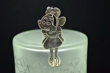 925 STERLING SILVER ADORABLE LADY MINI FAMOUS MOUSE PIN BROOCH PENDANT #18012