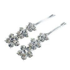 USA Bobby Pin Rhinestone Crystal Hair Clip Hairpin Jeweled Flower Silver Clear