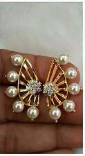 Indian Bollywood Fashion Lady Pearl Cz Ear Clip Ear Cuff Stud Earrings Jewelry