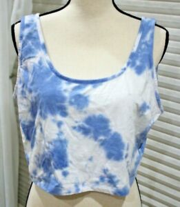 Forever 21+ Women's Plus Size Blue/White Tie Dyed Cropped Lounge Tank Top Sz 2X