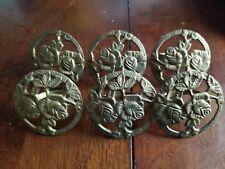 Lot of 6, Vintage Brass Locket Rose Napkin Holders