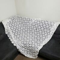 Vintage Crochet Lace Blanket White Floral Afghan Bedspread Coverlet Full Queen