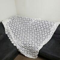 Vintage Crochet Lace Blanket White Floral Afghan Bedspread Coverlet Full Queen