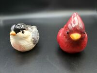 Red Cardinal and Sparrow Ceramic Birds Salt & Pepper Shaker Set of 2