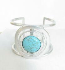 Kenneth Cole New York Silver Tone Turquoise Openwork Stone Cuff Bracelet $58 NEW
