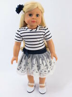 """Navy and White Stripe Dress + Shoes Fits 18"""" American Girl Doll Clothes"""