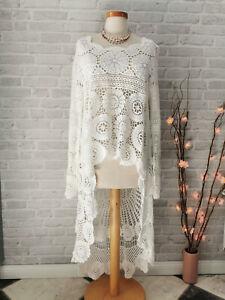 Häkel Kleid Pullover ❤ made in Italy ❤ Hippie Ibiza Mode Weiß 36 38 40 42 NEU