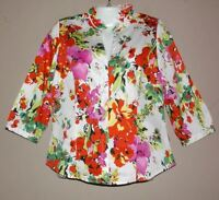 Womens PECK & PECK Weekend Floral Blouse Shirt Size 8 Colorful 3/4 Sleeve