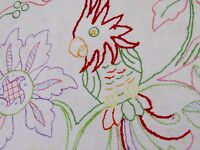 """VINTAGE HAND EMBROIDERED NATURAL LINEN BIRD PANEL """" PARROT ON A BRANCH """""""