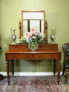 ANTIQUE MAHOGANY MIRRORED 6 DRAWER DRESSING TABLE ~ LOVELY CONDITION  c1900s