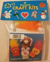Easter Bunny Finger Puppets Kid's Seasonal Craft Kit w/ Pom Poms Mac Enterprises