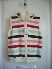 Gymboree WINTER SNOWFLAKE Strip Sweater Hooded Vest Girl Size L Large 10 - 12