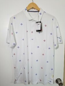 1 NWT PUMA MEN'S SHIRT, SIZE: MEDIUM, COLOR: WHITE/BLUE/RED (J46)