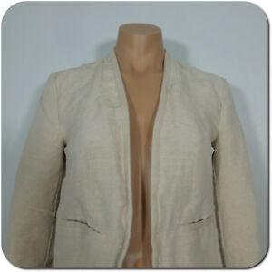 ANN TAYLOR LOFT Women's Linen Blend Beige Open Blazer Jacket, size 0