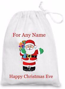 Personalised Christmas Eve Gift/Present Bag With Santa/Father Christmas
