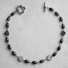 Black Magnetic Hematite Beaded Heart Toggle Anklet Ankle Bracelet Jewellery Gift