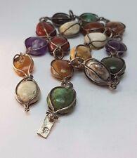 Sehr schöne Halskette / Necklace aus Mexico Silber Kette mit 17 Edelsteinen MG14