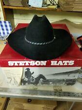 "7 1/8 Stetson XXXX 4X Beaver Black Cowboy Western Revenger Hat 3 1/4"" Brim w/box"