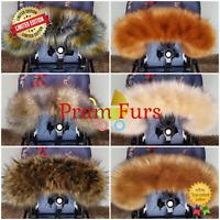 Pram Fur Hood Trim FAST DELIVERY Prams Furs Pink Blue White Black Silver Brown