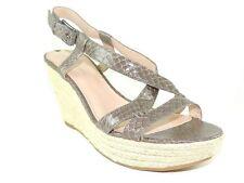 Via Spiga Women's Wendy Wedge Sandals Light Grey Leather Size 7.5 M
