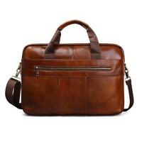 "Men Genuine Leather Handbag Retro Business 15"" Laptop Briefcase Messenger Bag"