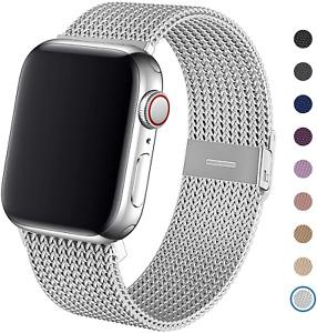 Apple Watch Series SE/6/5/4/3/2/1 Stainless Steel Strap Mesh Loop Silver Band