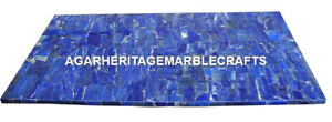 Marble Dining Table Top Lapis Lazuli Mosaic Stone Inlaid Occasional Decor H2030