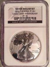 2006-P SILVER EAGLE  20TH ANNV. REVERSE PROOF PF70 NGC